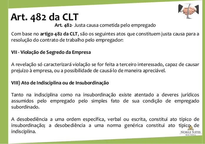 Artigo 482 da CLT justa causa